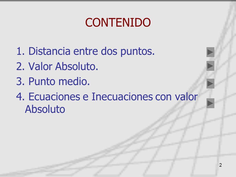2 CONTENIDO 1.Distancia entre dos puntos. 2. Valor Absoluto.