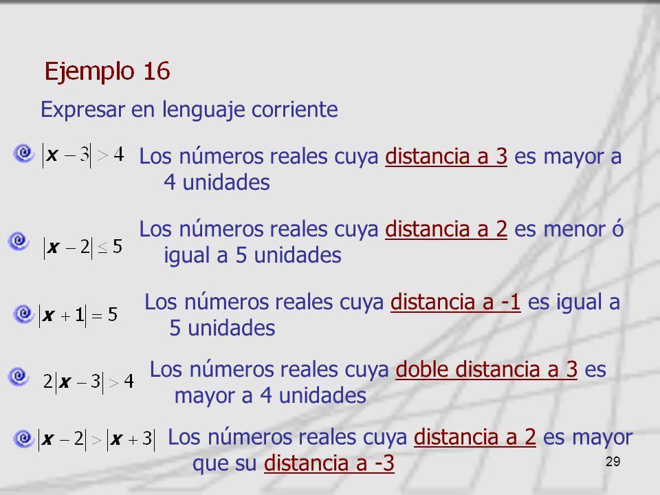 29 Expresar en lenguaje corriente Los números reales cuya distancia a 3 es mayor a 4 unidades Los números reales cuya distancia a 2 es menor ó igual a 5 unidades Los números reales cuya distancia a -1 es igual a 5 unidades Los números reales cuya doble distancia a 3 es mayor a 4 unidades Los números reales cuya distancia a 2 es mayor que su distancia a -3