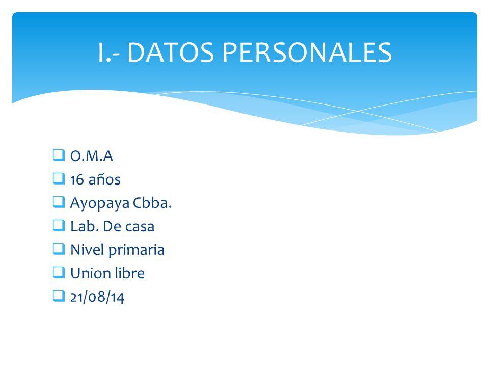  O.M.A  16 años  Ayopaya Cbba.  Lab. De casa  Nivel primaria  Union libre  21/08/14 I.- DATOS PERSONALES