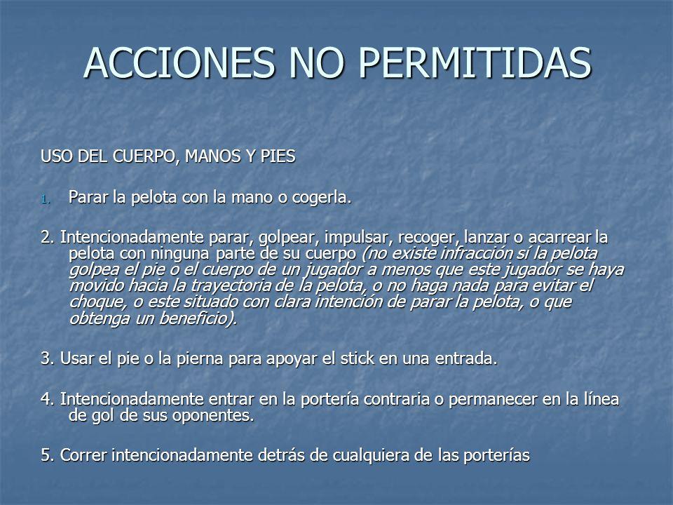 ACCIONES NO PERMITIDAS USO DEL CUERPO, MANOS Y PIES 1.