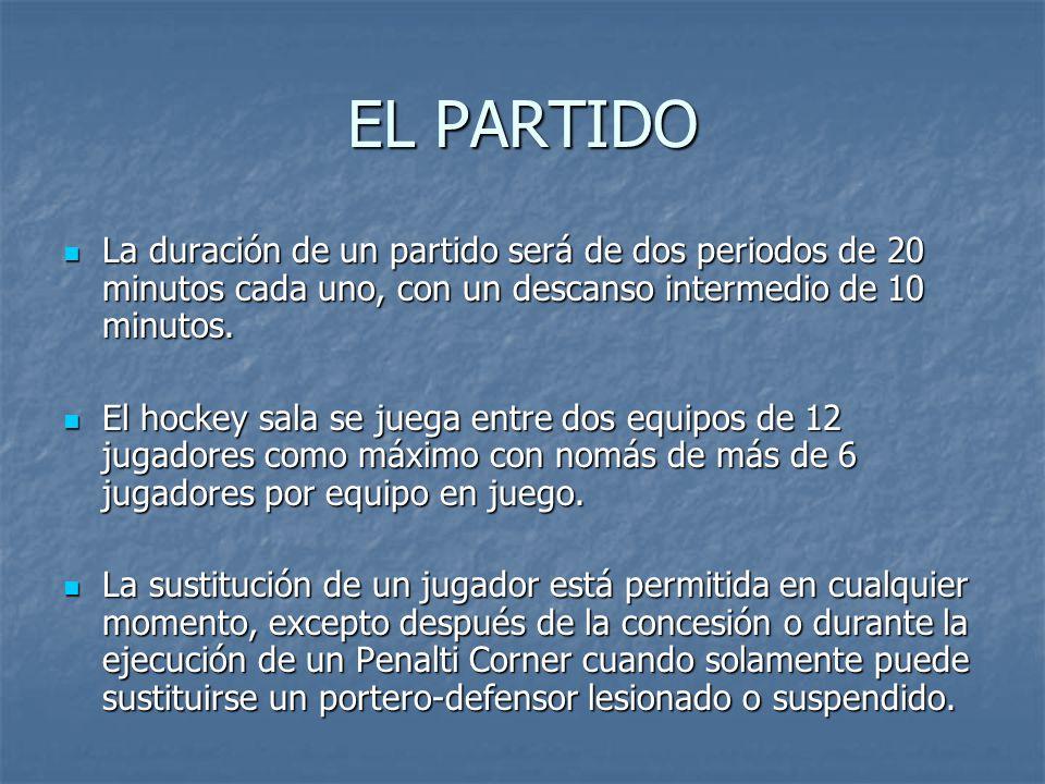 EL PARTIDO La duración de un partido será de dos periodos de 20 minutos cada uno, con un descanso intermedio de 10 minutos.