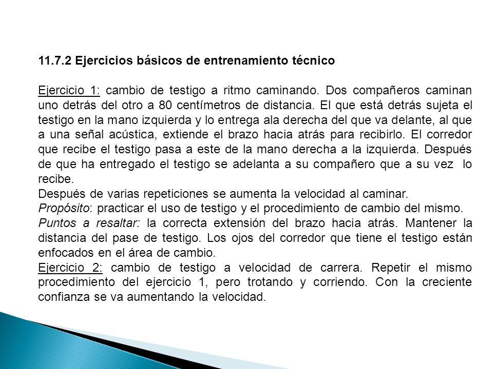 11.7.2 Ejercicios básicos de entrenamiento técnico Ejercicio 1: cambio de testigo a ritmo caminando.