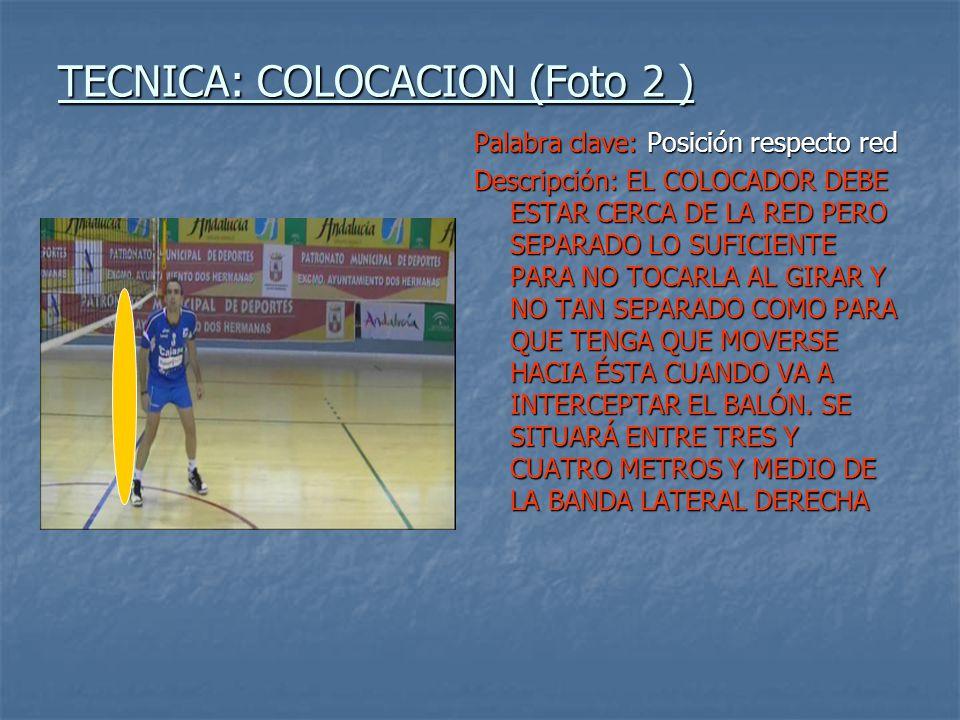 TECNICA: COLOCACION (Foto 3 ) Palabra clave: Postura corporal Descripción: DEBE SER UNA POSICIÓN NATURAL, RELAJADA Y ALERTA: CUERPO ESTENDIDO, CON PIERNAS SEPARADAS A LA ANCHURA DE LAS CADERAS, BRAZOS RELAJADOS, Y FLEXIÓN LIGERA DEL TOBILLO, QUE LLEVE EL PESO A LA PARTE ANTERIOR DE LOS PIES PARA UN DESPLAZAMIENTO MÁS EFICAZ.