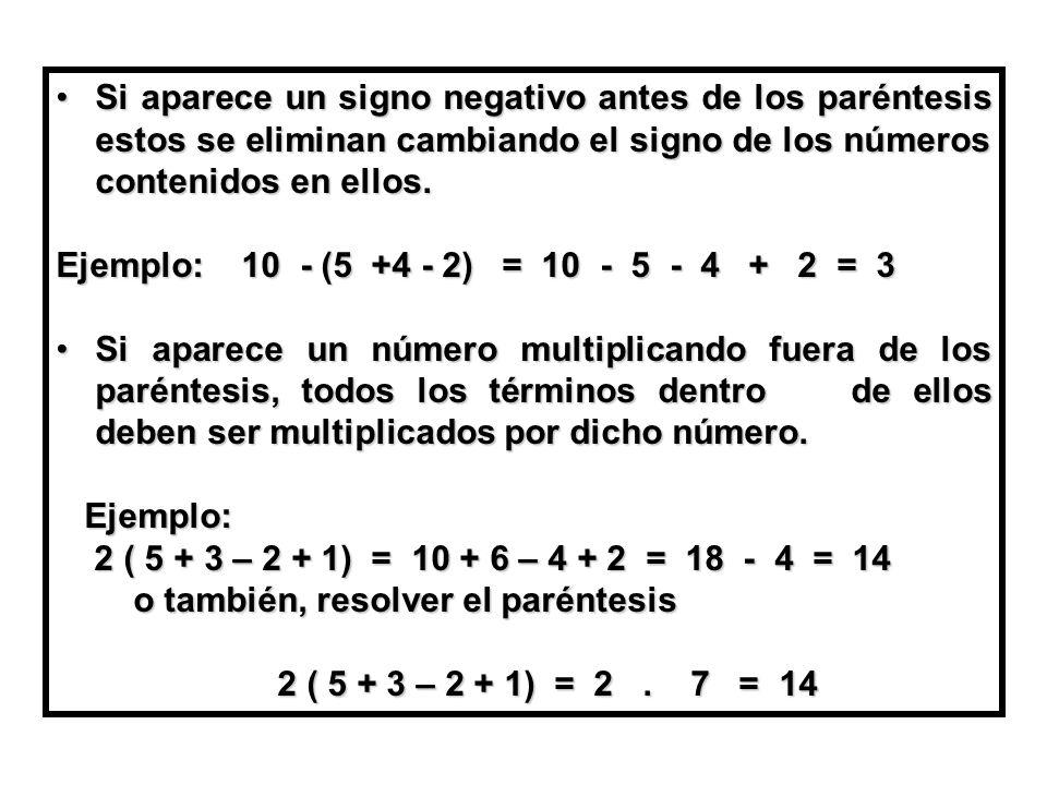 Si aparece un signo negativo antes de los paréntesis estos se eliminan cambiando el signo de los números contenidos en ellos.Si aparece un signo negativo antes de los paréntesis estos se eliminan cambiando el signo de los números contenidos en ellos.