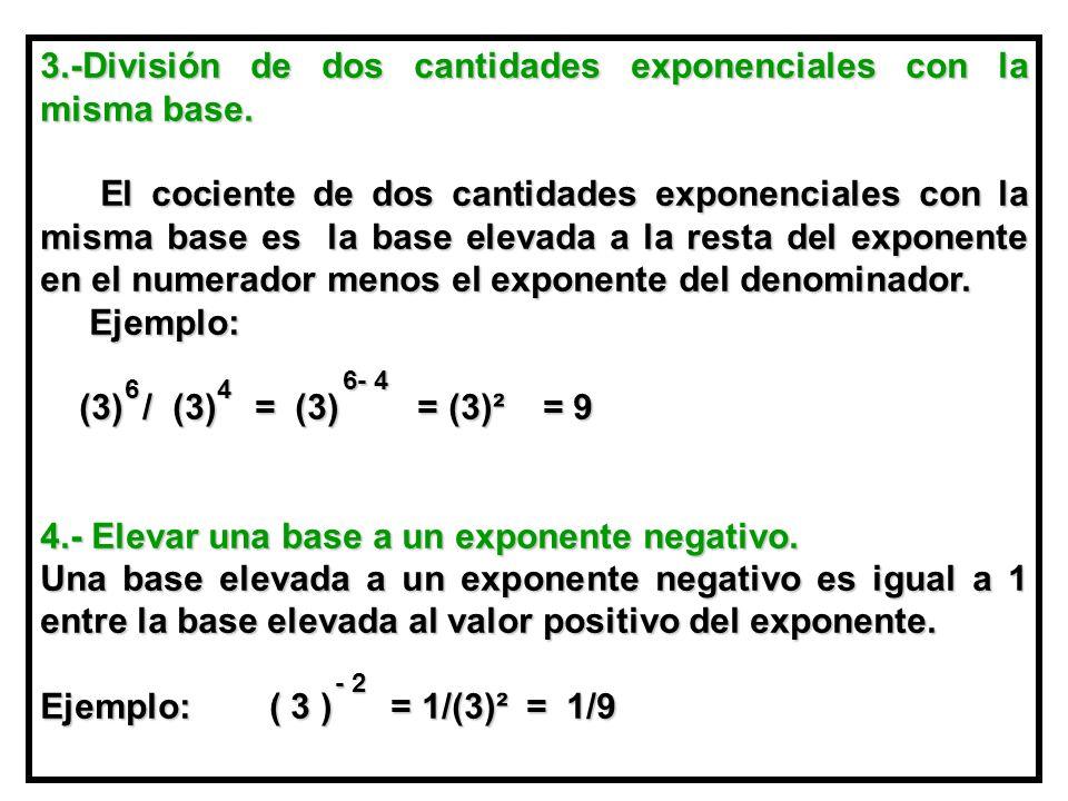 3.-División de dos cantidades exponenciales con la misma base.