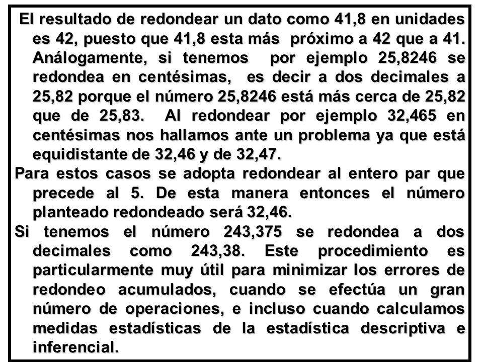 El resultado de redondear un dato como 41,8 en unidades es 42, puesto que 41,8 esta más próximo a 42 que a 41.