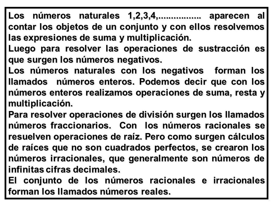 Los números naturales 1,2,3,4,.................
