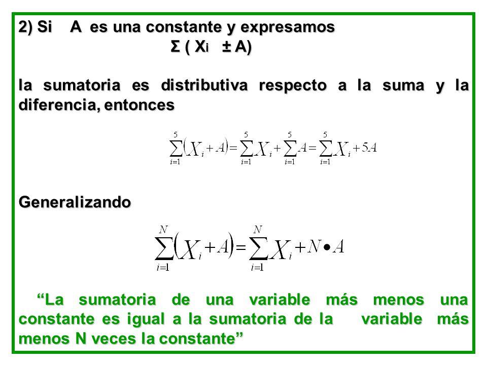 2) Si A es una constante y expresamos Σ ( X i ± A) Σ ( X i ± A) la sumatoria es distributiva respecto a la suma y la diferencia, entonces Generalizando La sumatoria de una variable más menos una constante es igual a la sumatoria de la variable más menos N veces la constante La sumatoria de una variable más menos una constante es igual a la sumatoria de la variable más menos N veces la constante