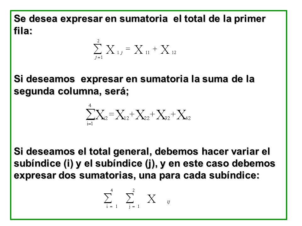 Se desea expresar en sumatoria el total de la primer fila: Si deseamos expresar en sumatoria la suma de la segunda columna, será; Si deseamos el total general, debemos hacer variar el subíndice (i) y el subíndice (j), y en este caso debemos expresar dos sumatorias, una para cada subíndice: