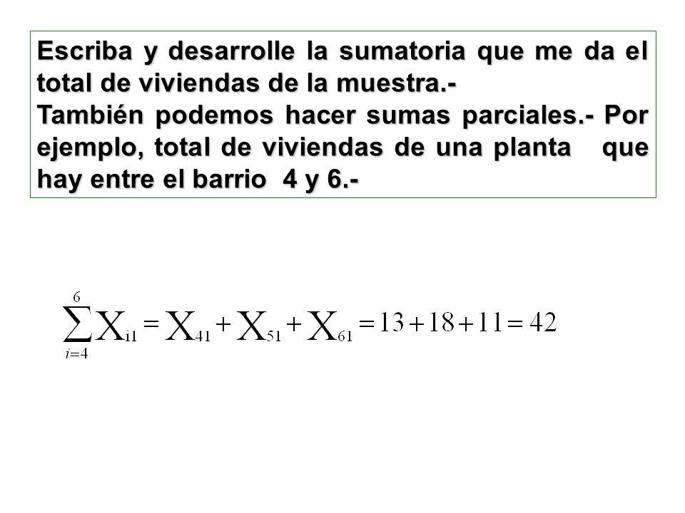 Escriba y desarrolle la sumatoria que me da el total de viviendas de la muestra.- También podemos hacer sumas parciales.- Por ejemplo, total de viviendas de una planta que hay entre el barrio 4 y 6.-