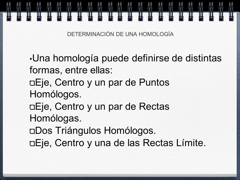 Una homología puede definirse de distintas formas, entre ellas: Eje, Centro y un par de Puntos Homólogos.