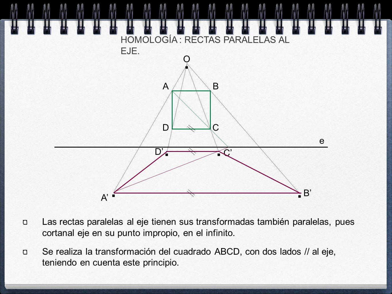 A' C' B' e O HOMOLOGÍA : RECTAS PARALELAS AL EJE. A C B D....