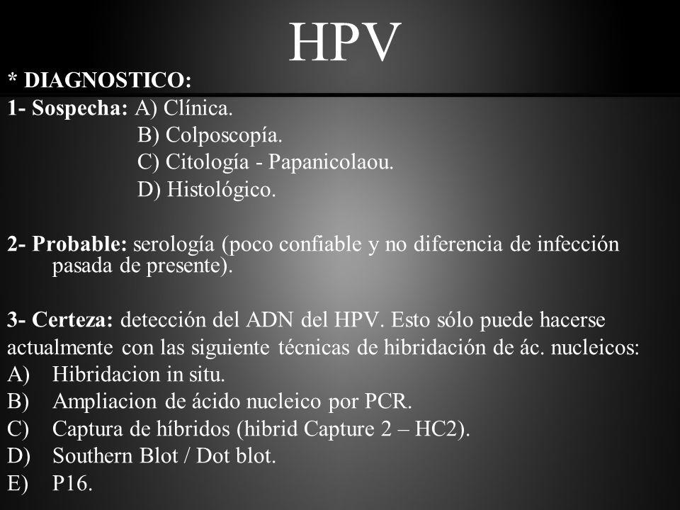 HPV * DIAGNOSTICO: 1- A- Clínica: