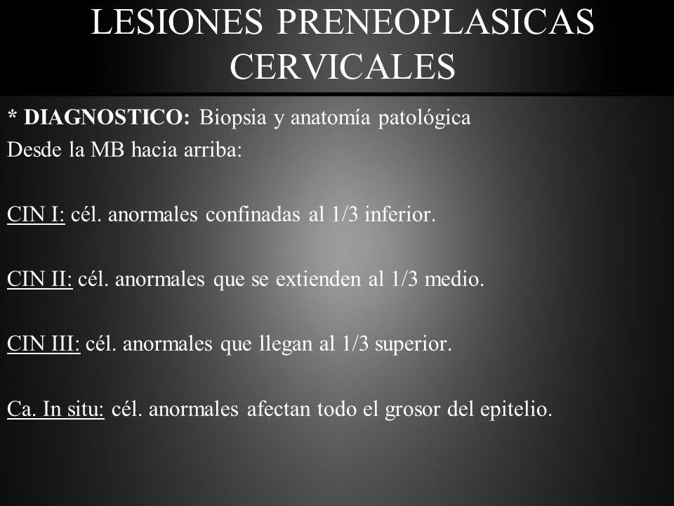LESIONES PRENEOPLASICAS CERVICALES * DIAGNOSTICO: Biopsia y anatomía patológica Desde la MB hacia arriba: CIN I: cél.
