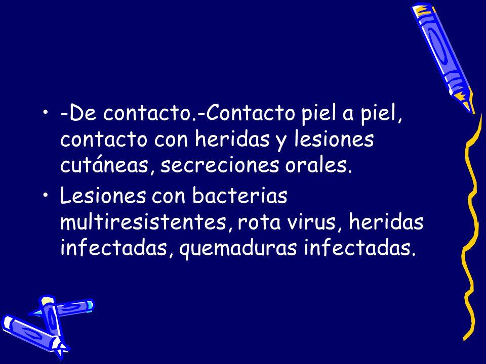 -De contacto.-Contacto piel a piel, contacto con heridas y lesiones cutáneas, secreciones orales. Lesiones con bacterias multiresistentes, rota virus,