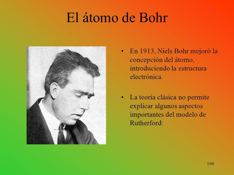 En 1913, Niels Bohr mejoró la concepción del átomo, introduciendo la estructura electrónica.