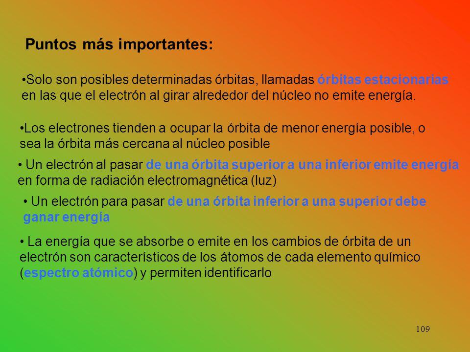 Puntos más importantes: Solo son posibles determinadas órbitas, llamadas órbitas estacionarias en las que el electrón al girar alrededor del núcleo no emite energía.