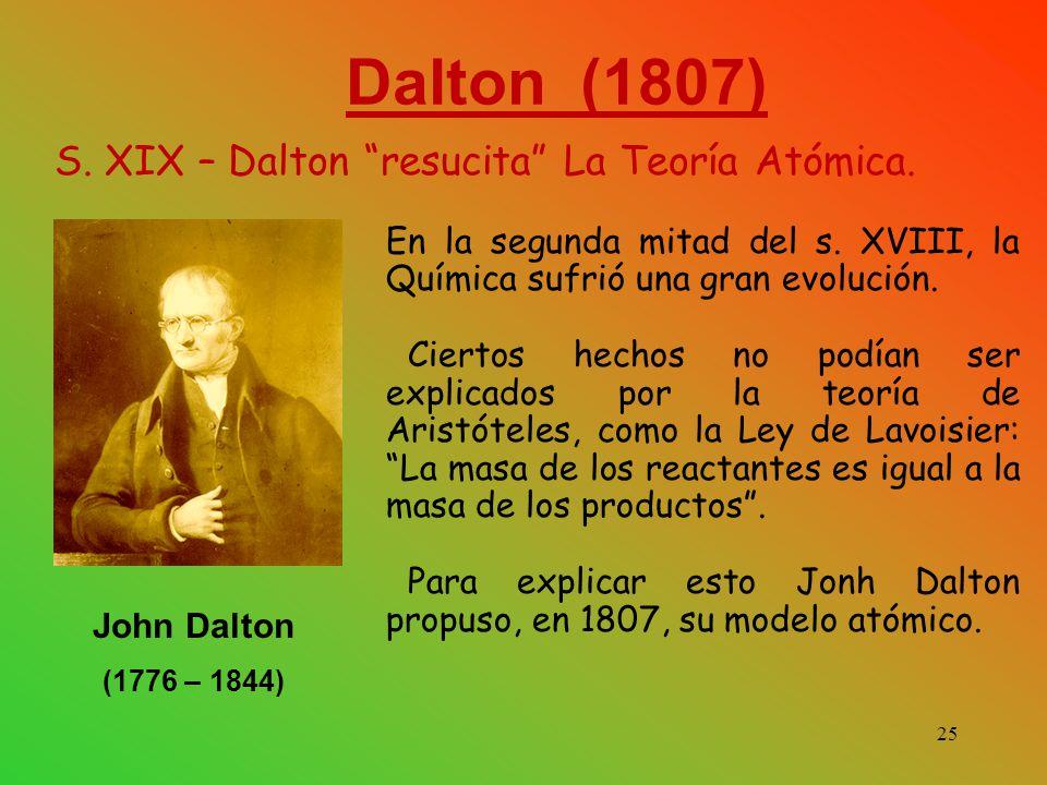 Dalton (1807) S.XIX – Dalton resucita La Teoría Atómica.