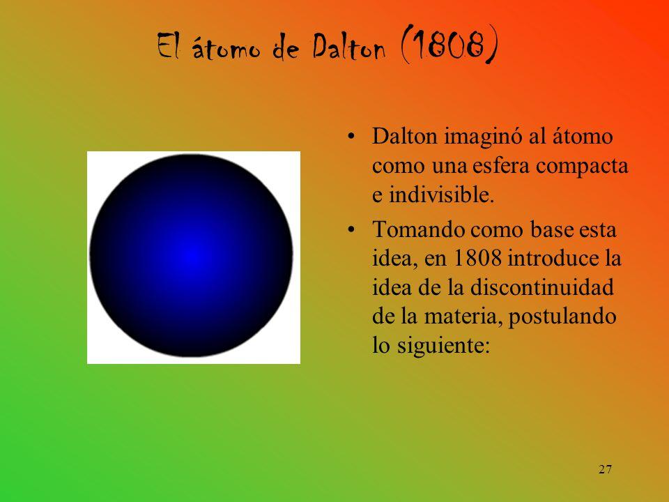 Dalton imaginó al átomo como una esfera compacta e indivisible.