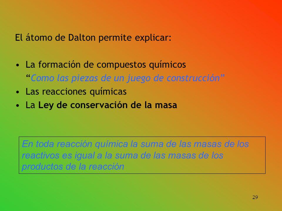 El átomo de Dalton permite explicar: La formación de compuestos químicos Como las piezas de un juego de construcción Las reacciones químicas La Ley de conservación de la masa En toda reacción química la suma de las masas de los reactivos es igual a la suma de las masas de los productos de la reacción 29