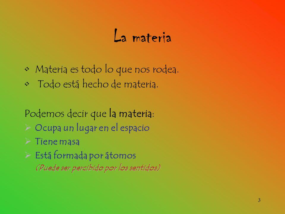 La materia Materia es todo lo que nos rodea.Todo está hecho de materia.