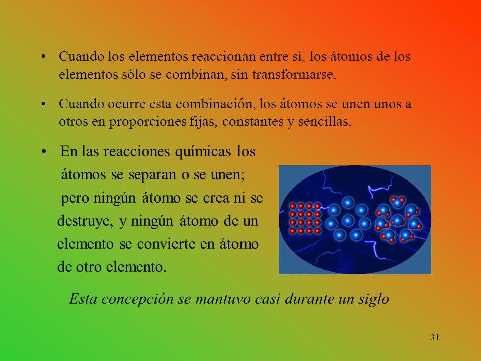 Cuando los elementos reaccionan entre sí, los átomos de los elementos sólo se combinan, sin transformarse.