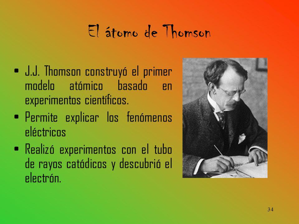 J.J.Thomson construyó el primer modelo atómico basado en experimentos científicos.