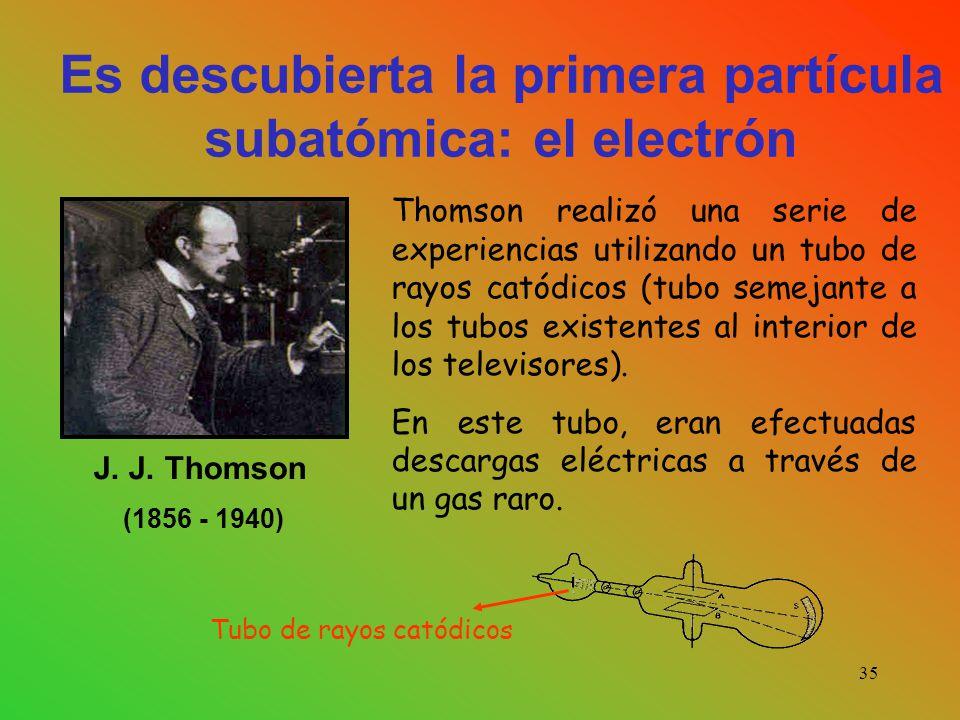 Es descubierta la primera partícula subatómica: el electrón Thomson realizó una serie de experiencias utilizando un tubo de rayos catódicos (tubo semejante a los tubos existentes al interior de los televisores).