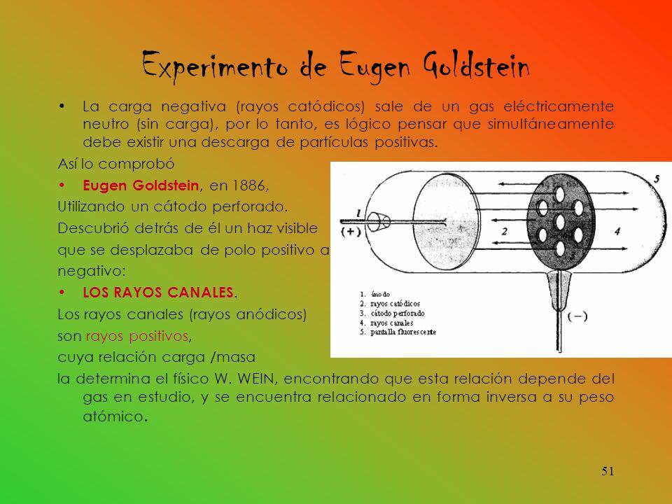Experimento de Eugen Goldstein La carga negativa (rayos catódicos) sale de un gas eléctricamente neutro (sin carga), por lo tanto, es lógico pensar que simultáneamente debe existir una descarga de partículas positivas.