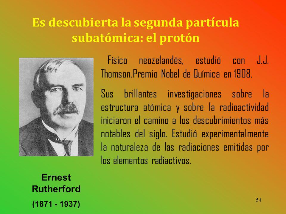 54 Físico neozelandés, estudió con J.J.Thomson.Premio Nobel de Química en 1908.