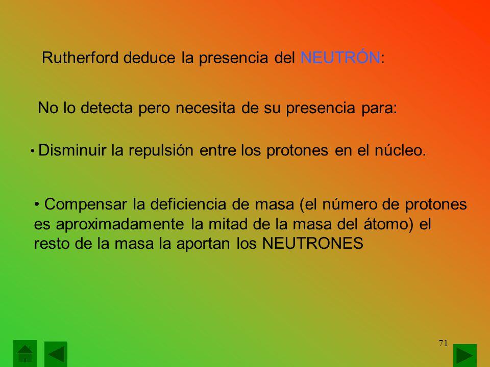 Rutherford deduce la presencia del NEUTRÓN: No lo detecta pero necesita de su presencia para: Disminuir la repulsión entre los protones en el núcleo.