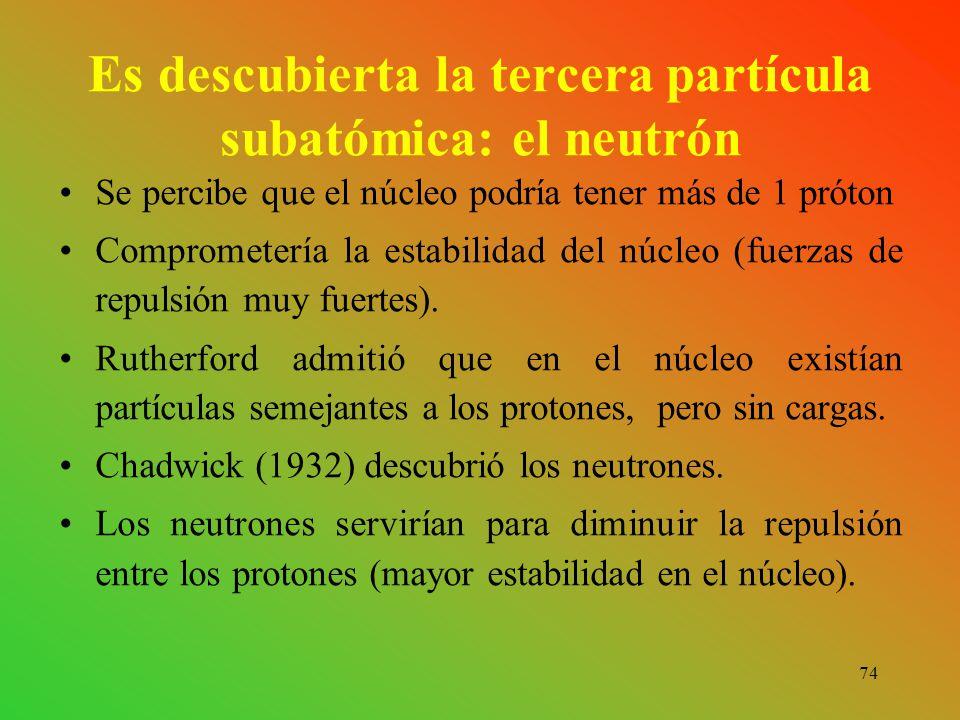 74 Es descubierta la tercera partícula subatómica: el neutrón Se percibe que el núcleo podría tener más de 1 próton Comprometería la estabilidad del núcleo (fuerzas de repulsión muy fuertes).