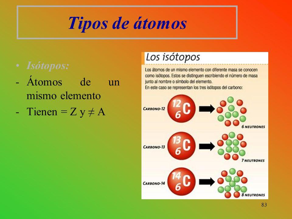 Tipos de átomos Isótopos: -Átomos de un mismo elemento -Tienen = Z y ≠ A 83