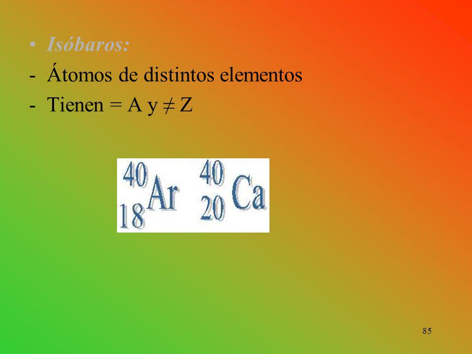 Isóbaros: -Átomos de distintos elementos -Tienen = A y ≠ Z 85