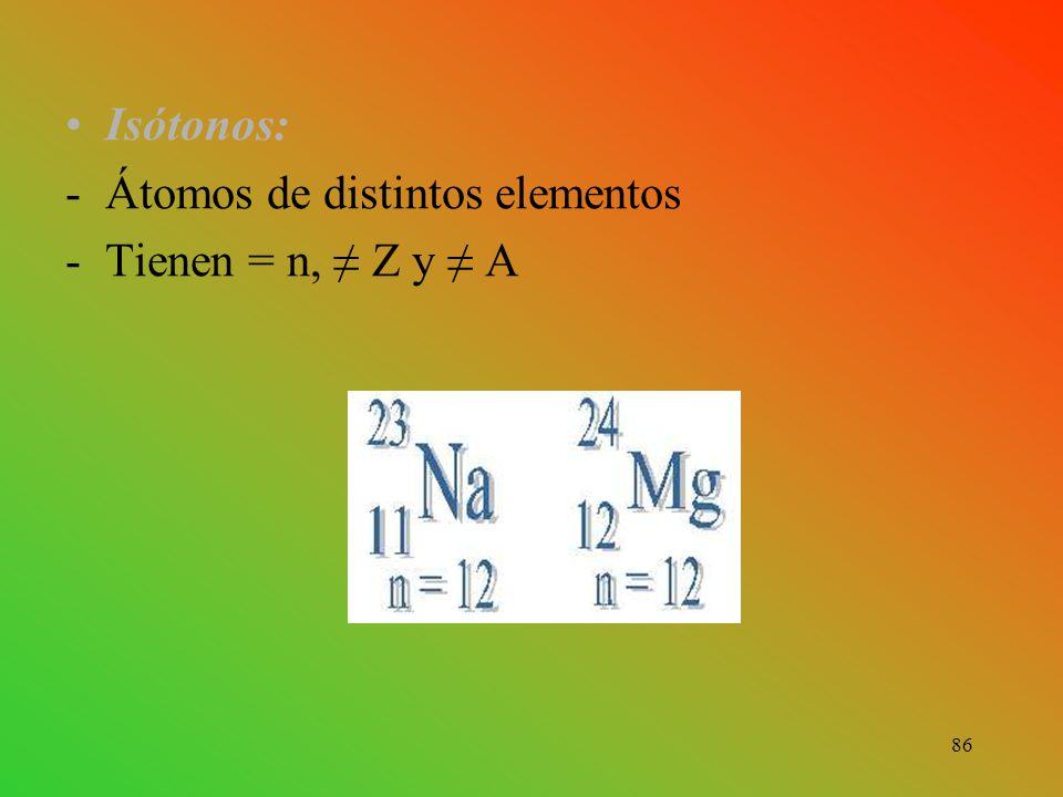 Isótonos: -Átomos de distintos elementos -Tienen = n, ≠ Z y ≠ A 86