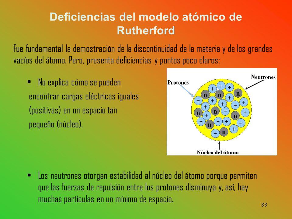 Deficiencias del modelo atómico de Rutherford No explica cómo se pueden encontrar cargas eléctricas iguales (positivas) en un espacio tan pequeño (núcleo).