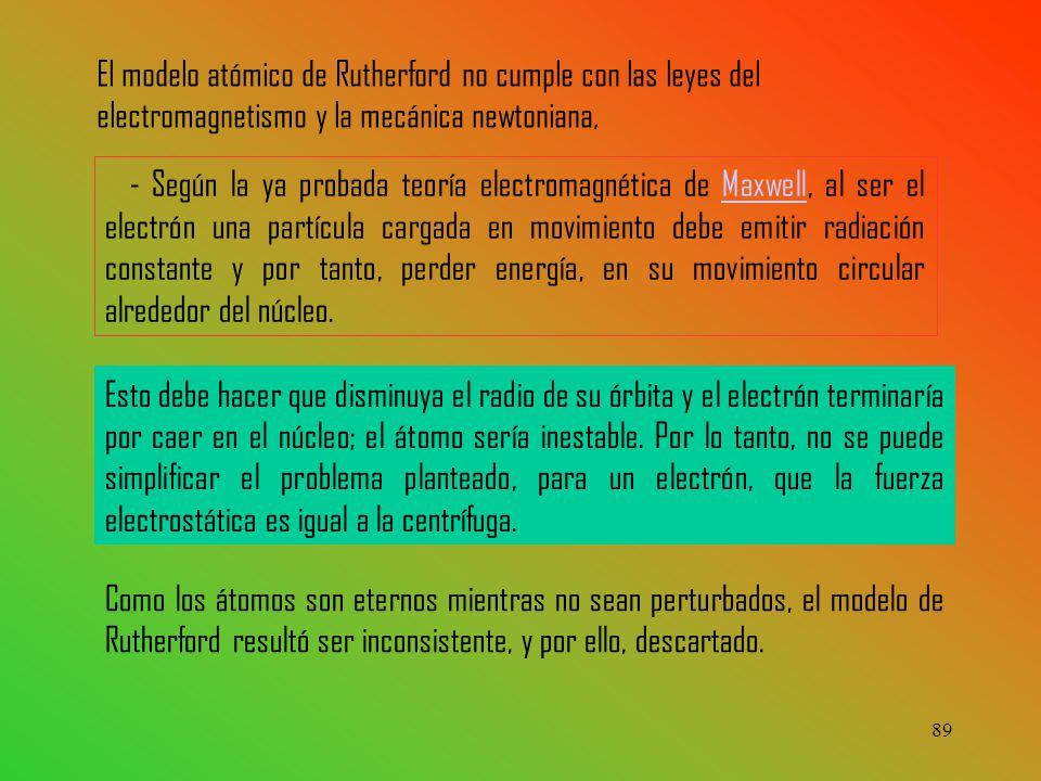 89 - Según la ya probada teoría electromagnética de Maxwell, al ser el electrón una partícula cargada en movimiento debe emitir radiación constante y por tanto, perder energía, en su movimiento circular alrededor del núcleo.Maxwell Esto debe hacer que disminuya el radio de su órbita y el electrón terminaría por caer en el núcleo; el átomo sería inestable.