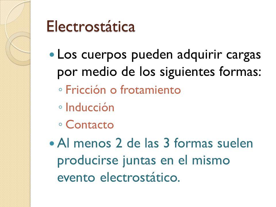 Electrostática Los cuerpos pueden adquirir cargas por medio de los siguientes formas: ◦ Fricción o frotamiento ◦ Inducción ◦ Contacto Al menos 2 de la