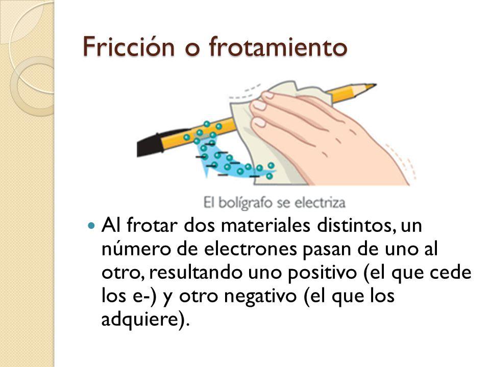 Fricción o frotamiento Al frotar dos materiales distintos, un número de electrones pasan de uno al otro, resultando uno positivo (el que cede los e-)