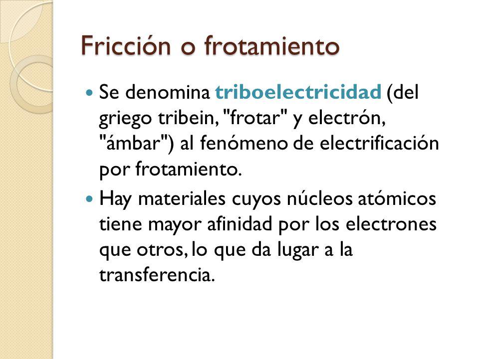 Fricción o frotamiento Se denomina triboelectricidad (del griego tribein,