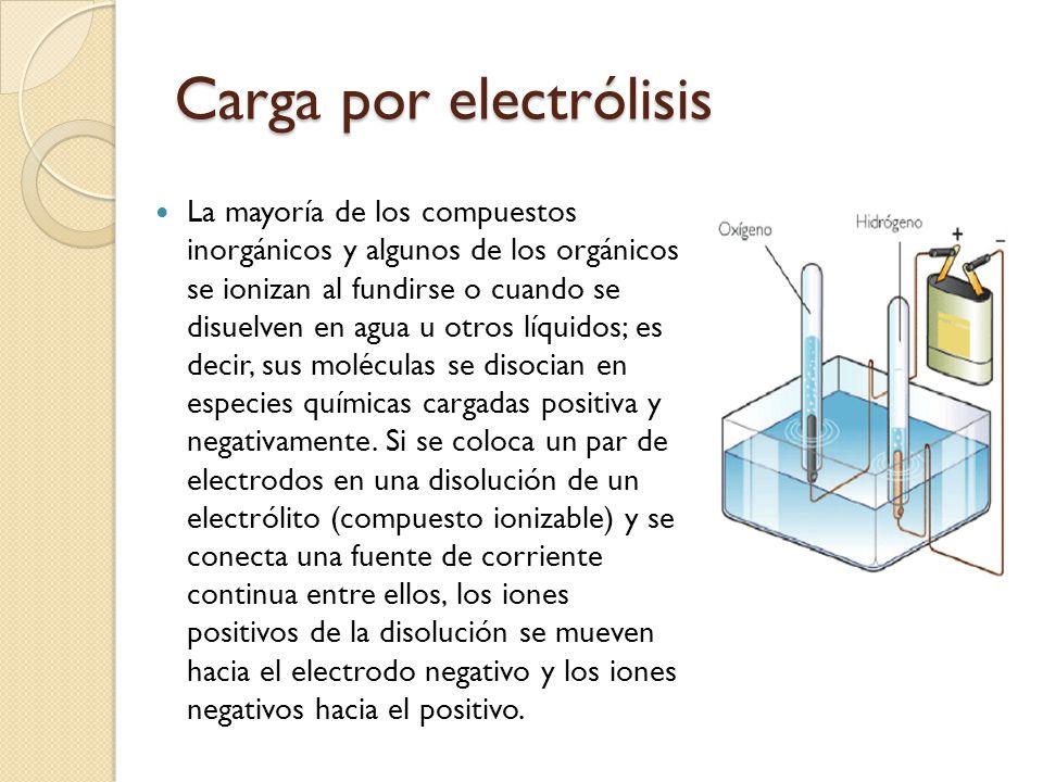 Carga por electrólisis La mayoría de los compuestos inorgánicos y algunos de los orgánicos se ionizan al fundirse o cuando se disuelven en agua u otro