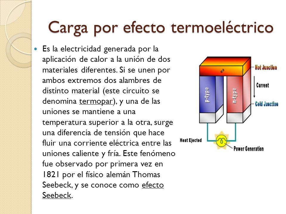 Carga por efecto termoeléctrico Es la electricidad generada por la aplicación de calor a la unión de dos materiales diferentes. Si se unen por ambos e
