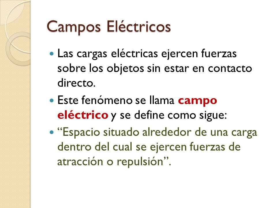 Campos Eléctricos Las cargas eléctricas ejercen fuerzas sobre los objetos sin estar en contacto directo. Este fenómeno se llama campo eléctrico y se d