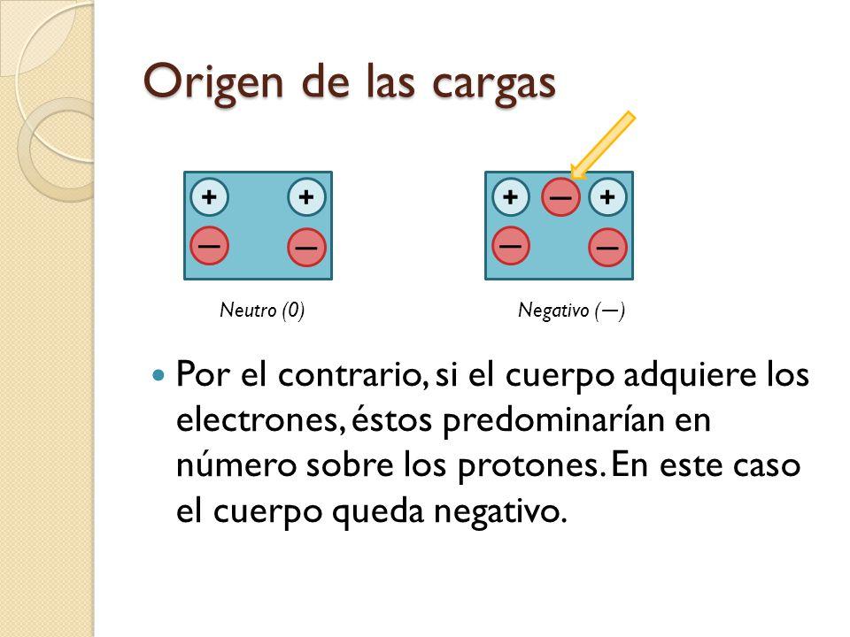 Origen de las cargas Por el contrario, si el cuerpo adquiere los electrones, éstos predominarían en número sobre los protones. En este caso el cuerpo