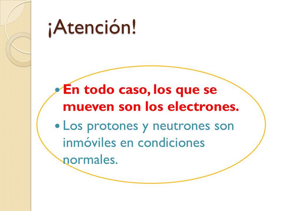 ¡Atención! En todo caso, los que se mueven son los electrones. Los protones y neutrones son inmóviles en condiciones normales.