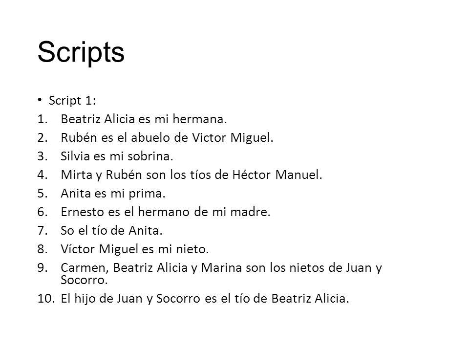 Scripts Script 1: 1.Beatriz Alicia es mi hermana. 2.Rubén es el abuelo de Victor Miguel.