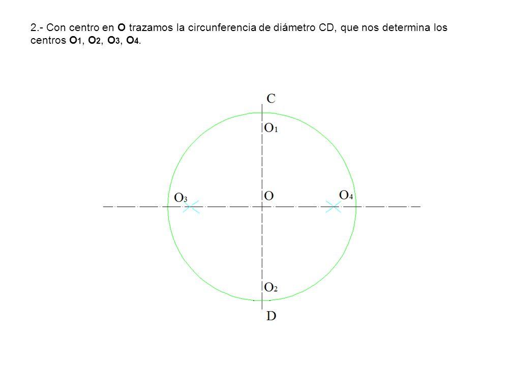 2.- Con centro en O trazamos la circunferencia de diámetro CD, que nos determina los centros O 1, O 2, O 3, O 4.