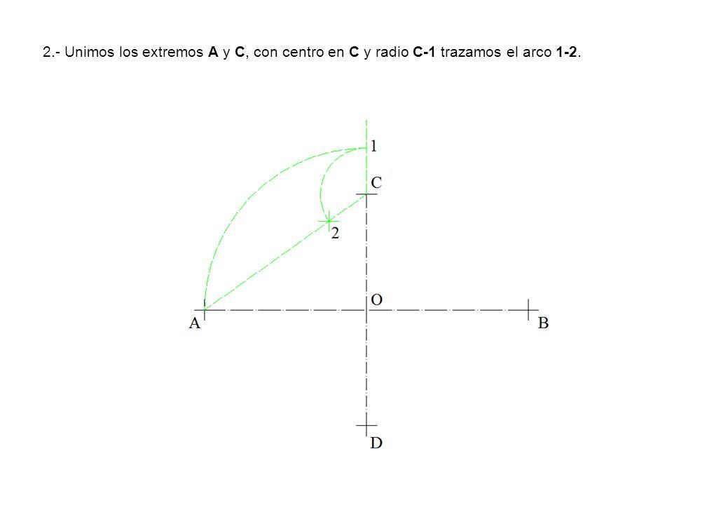 2.- Unimos los extremos A y C, con centro en C y radio C-1 trazamos el arco 1-2.