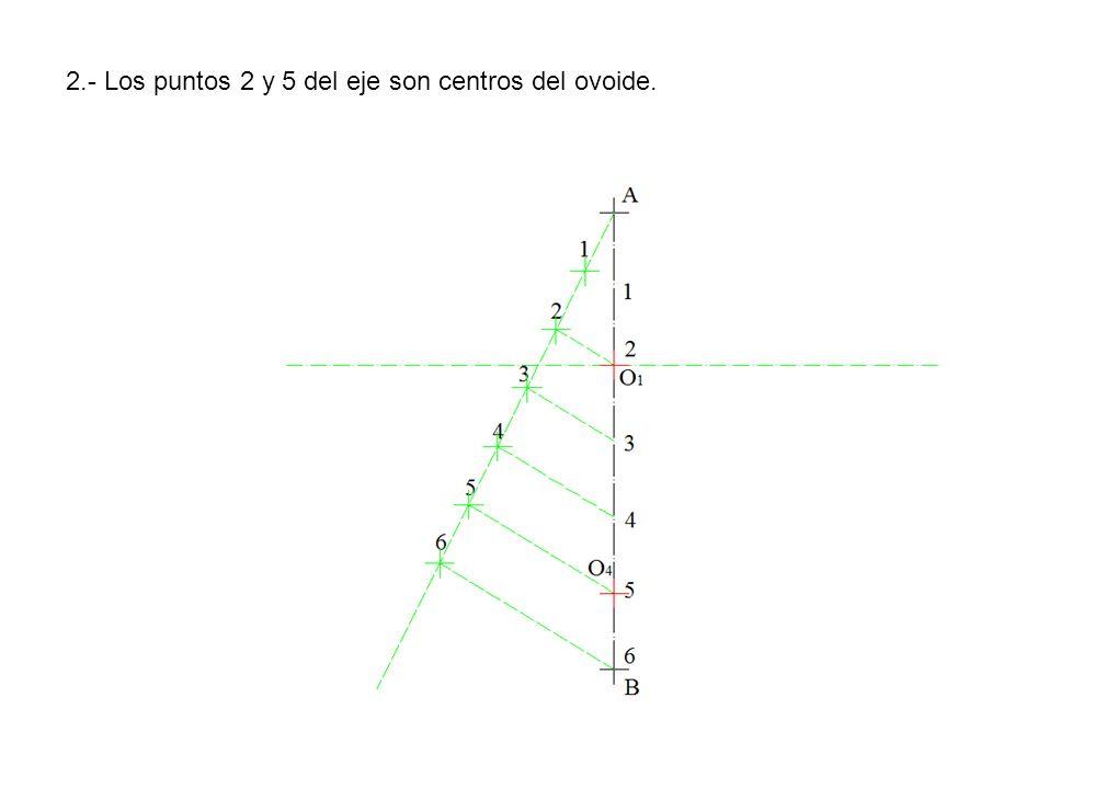 2.- Los puntos 2 y 5 del eje son centros del ovoide.