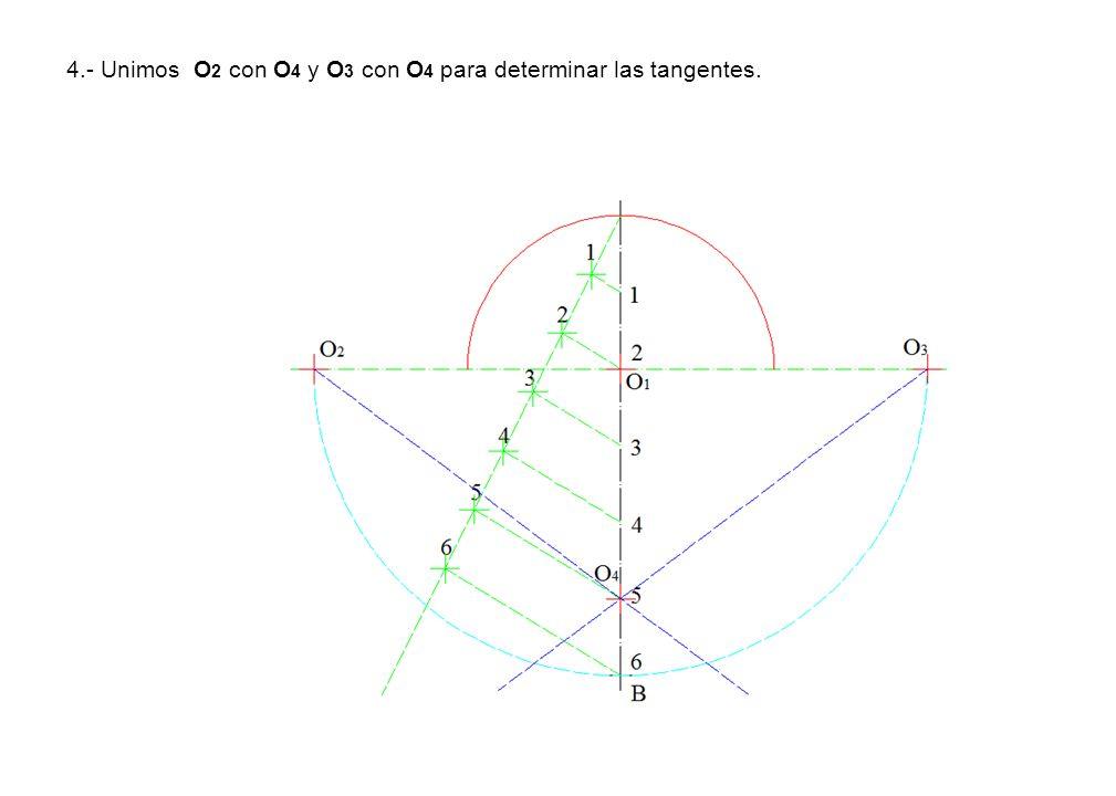 4.- Unimos O 2 con O 4 y O 3 con O 4 para determinar las tangentes.